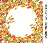 frame of autumn leaves... | Shutterstock . vector #690140158