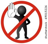 white man showing stop with... | Shutterstock .eps vector #69015226