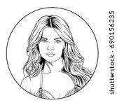 portrait of girl in style pop... | Shutterstock . vector #690156235