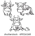 Cute Small Cows And Horse