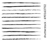 set of sketch brushes isolated... | Shutterstock .eps vector #690163702