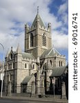 Christ Church Cathedral (The Cathedral of the Holy Trinity) architecture in Dublin, Ireland - stock photo