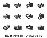 hand and money vector icons for ... | Shutterstock .eps vector #690169648