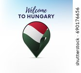 flag of hungary in shape of map ... | Shutterstock .eps vector #690176656