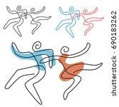 dancing couple line art. a... | Shutterstock .eps vector #690183262
