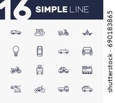 set of 16 transport outline... | Shutterstock .eps vector #690183865