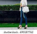 fashionable beautiful big white ... | Shutterstock . vector #690187762