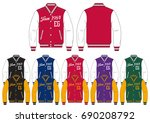varsity jacket    front and...   Shutterstock .eps vector #690208792