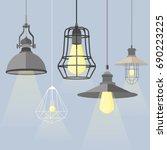 set of modern isolated edison... | Shutterstock .eps vector #690223225