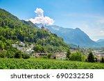 vaduz town  panoramic view of...   Shutterstock . vector #690232258