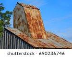 rustic roof  of the ozark...   Shutterstock . vector #690236746