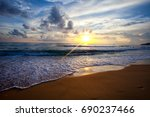 ocean waves and beach with sand ... | Shutterstock . vector #690237466