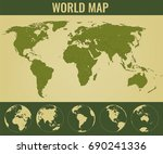world map with globes.... | Shutterstock .eps vector #690241336