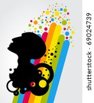 picture with black  head with... | Shutterstock .eps vector #69024739