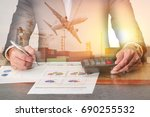 businessman working with... | Shutterstock . vector #690255532