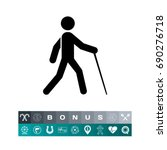 blind person with cane icon | Shutterstock .eps vector #690276718
