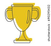 gold award cup in doodle style... | Shutterstock .eps vector #690295432