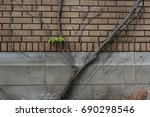 Brick Wall With Cement...