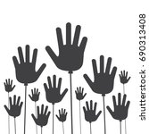 hands up balloons  hands up... | Shutterstock .eps vector #690313408