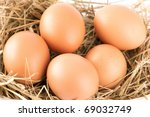 Macro Shoot Of Brown Eggs At...