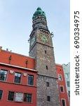 innsbruck s city tower  austria    Shutterstock . vector #690334975
