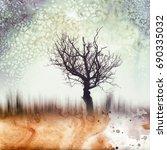 autumn requiem. transition from ... | Shutterstock . vector #690335032