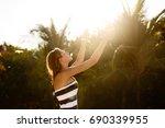 spa wellness beach beauty woman ...   Shutterstock . vector #690339955