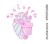 unicorn  vector illustration.... | Shutterstock .eps vector #690341686