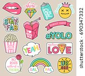set of girl fashion patches ... | Shutterstock .eps vector #690347332