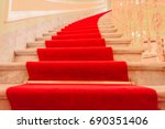 interior stairs with red carpet ... | Shutterstock . vector #690351406