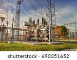 power transformer in high... | Shutterstock . vector #690351652