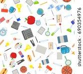 different school objects in... | Shutterstock . vector #690354976