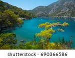 blue lagoon near the town of... | Shutterstock . vector #690366586