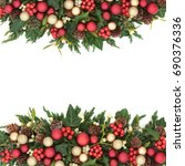 christmas background border... | Shutterstock . vector #690376336