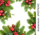 christmas background border... | Shutterstock . vector #690376342