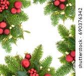 christmas background border... | Shutterstock . vector #690376342