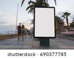 blank advertisement in a... | Shutterstock . vector #690377785