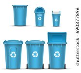 blue recycling bin bucket... | Shutterstock .eps vector #690377896