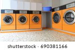 Small photo of Automatic launderette with five washers for washing cloths