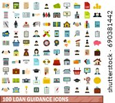 100 loan guidance icons set in... | Shutterstock .eps vector #690381442