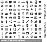 100 electronics icons set in... | Shutterstock .eps vector #690381622