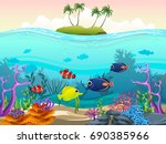 illustration of fish and coral... | Shutterstock .eps vector #690385966