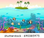illustration of fish and coral... | Shutterstock .eps vector #690385975