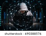 Small photo of Hacker accessing to personal data information with a computer in a dark room 3D rendering