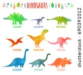 dino set in watercolor.... | Shutterstock .eps vector #690391012
