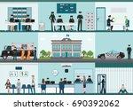 modern police station building... | Shutterstock .eps vector #690392062