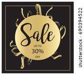 summer sale luxury black and... | Shutterstock .eps vector #690394522