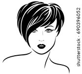 beautiful fashion girl with...   Shutterstock .eps vector #690396052