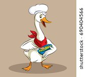 goose chef   holding bowl  ... | Shutterstock .eps vector #690404566