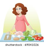 pregnant woman with vegetables... | Shutterstock .eps vector #69041026